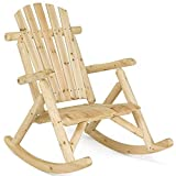 Casart Log Rocking Chair Wood Porch Rocker Lounge Patio Deck Balcony Furniture Rustic Single Rocker Natural