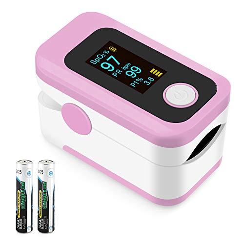 Oxímetro de pulso, oxímetro de dedo profesional con pantalla OLED, utilizado para medir SpO2 y PI y PR, lecturas precisas y confiables en tiempo real (Rosado)