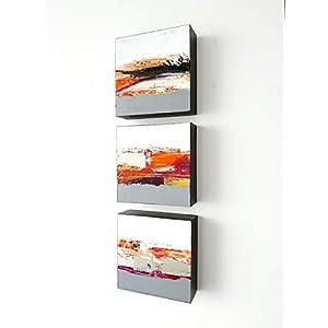 3x 15x15cm Malerei, Acrylmalerei, abstrakt, auf Holz, Kunst, Wanddekoration, Malerei, Acrylbilder, Wandskulptur, Gemälde…