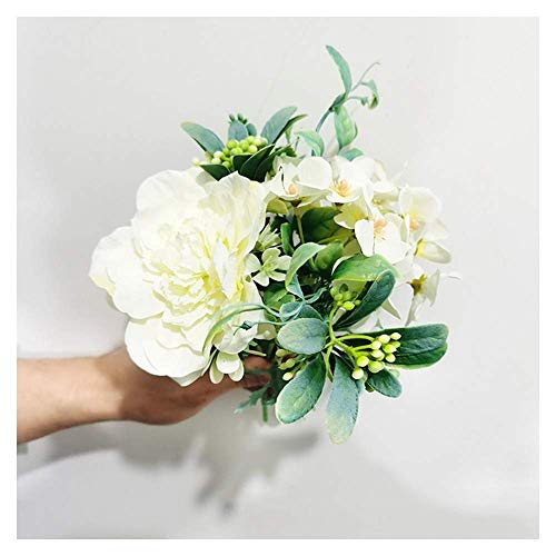 LHHZAL 5Pcs 51cm Long Branch Flowers Bouquet Beautiful White Silk Roses Artificial Flowers Wedding Home Table Decor Arrange Fake Flower Artificial Flower (Size : White) (Color : White, Size : 1 pc)
