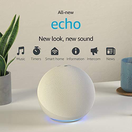 Echo (4th Gen)   With premium sound, smart home hub, and Alexa   Glacier White