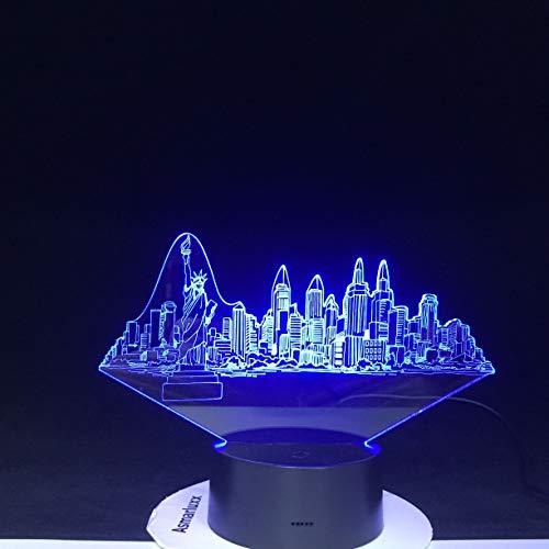 Nueva York simulación de construcción 3D lámpara de mesa Usb multicolor LED atmósfera luz de noche regalo