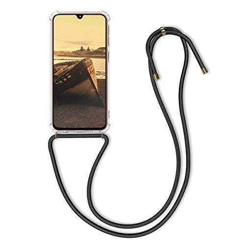 kwmobile Carcasa Compatible con Samsung Galaxy A40 - Funda Transparente TPU con Cuerda para Colgar - Transparente/Negro