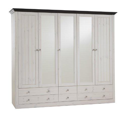 Steens Monaco Kleiderschrank, 5 Türen, 228 x 201 x 60 cm (B/H/T), Kiefer massiv, weiß/kolonial