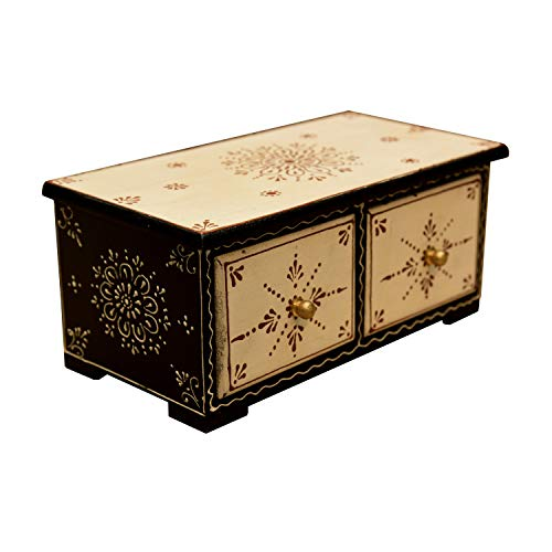 Casa Moro Orientalische Mini-Kommode handbemalte Holz-Kästchen Alaya mit 2 Schubladen 24x13x10 cm (B/T/H)   Die Originelle Geschenk-Idee für die Dame Freundin Tochter Muttertag   MA49-05