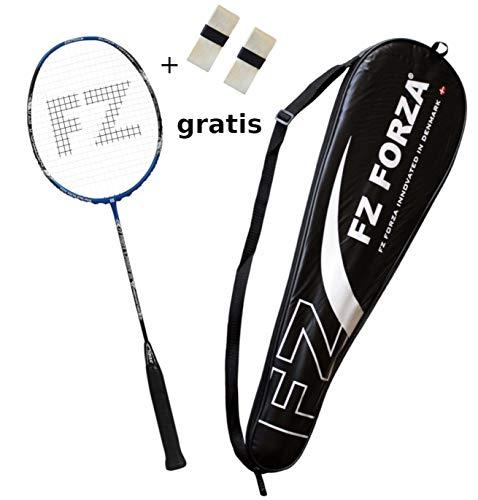 FZ Forza - Badmintonschläger X-Power 86 - Vollgraphit Racket mit 86 Holes für mehr Kontrolle - besaitet - blau + 2 Overgrips gratis + Fullsize Racketcover