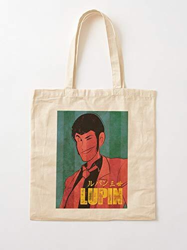 GENERICO Manga Jigen Vintage Lupin 3Rd Anime Comics Goemon | Bolsas de lona con asas, bolsas de la compra de algodón duradero