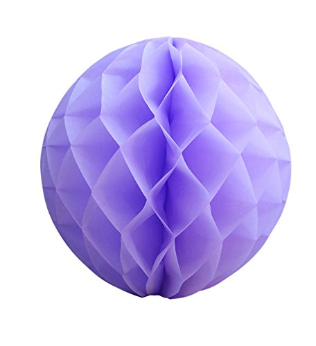 "Quasimoon 8"" Lavender Round Tissue Lantern, Honeycomb Ball, Hanging (3 Pack) by PaperLanternStore"