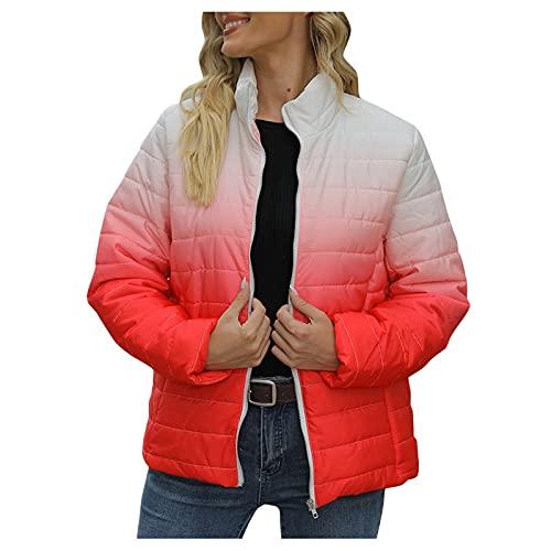 URIBAKY - Chaqueta acolchada para mujer de manga larga y bolsillo con cremallera para abrigos de chaqueta, plumín ligero con capucha de plumón de ganso de ganso, chaqueta de algodón cálido, rojo, XXL