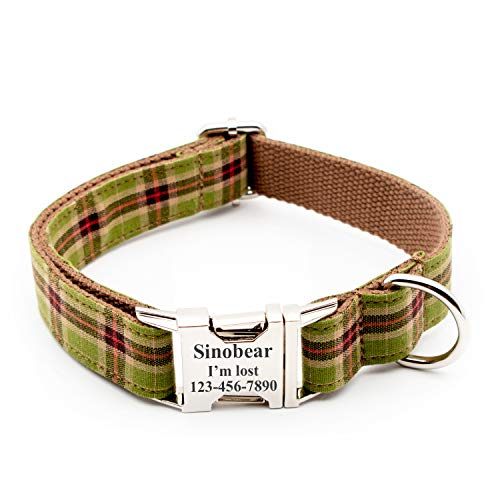 Personalized Dog Collar, Classic Custom Engraved Collar with Customized Text (Size XS S M L XL) (Green Plaid)