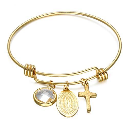 DEQIAODE 316L Grado Acero Inoxidable católica Virgen María Cruz Pulseras Extensibles Brazalete Ajustable de Alambre para Mujeres
