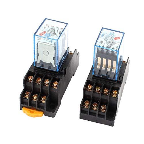 X-DREE 2 Pcs AC 110/120V 5A Coil 35mm DIN Rail 4PDT 14Pin Power Relay + Base(2 Unidades AC 110 / 120V 5A Bobina 35mm Carril DIN 4PDT 14Pin Relé de Potencia + Base