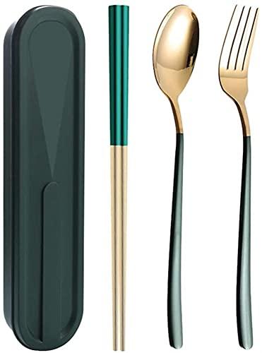 Chopsticks de acero inoxidable Set de cuchara Set Tenedor Set de tres piezas Estudiante portátil Vajilla GIAOYAO (Color : C)