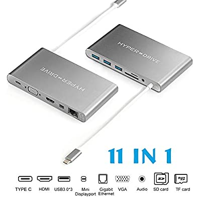 HyperDrive USB C Hub, Type C Multiport Adapter for MacBook Pro, Laptop USB-C Devices, Ultimate 11-in-1 PC Docking Station w Power Delivery Charging, USBC 5Gbps Data, 4K HDMI, 3xUSB 3.1 Ports, VGA, etc