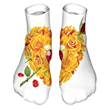 VJSDIUD Calcetines cortos Women's Colorful Patterned Unisex Low Cut/No Show Socks,Heart Shape with Orange Roses with a Flower Arrow Passion