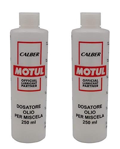 Motul N. 2 Misurini Dosatori olio per miscela 250 ml con tappo, scala graduata e percentuali 2-4% 2,5-5% 3-6%