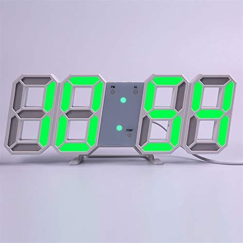 Wanduhr für Wohnzimmer, Wanduhr Modern Design Wohnzimmer Dekor Watchuhr 3D LED Digital Table Alarm Nightlight Leuchten Desktop (Farbe : Wall clock g)