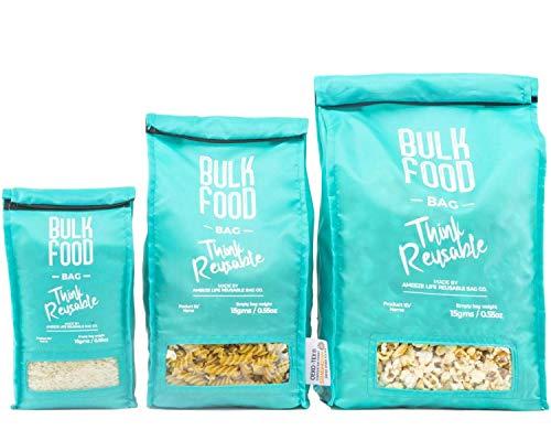 ameeze - Unverpackt Set Beutel - Zero Waste Set Beutel zum Einkaufen von Lebensmittel, Obst und Gemüsebeutel, ÖKO TEX® 100% Recycling Polyester (3er Set)
