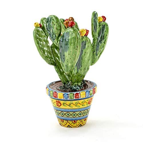 Vaso Ficodindia Siciliano in Ceramica di Caltagirone Fatto a Mano, fico d'india Vaso Made in Italy