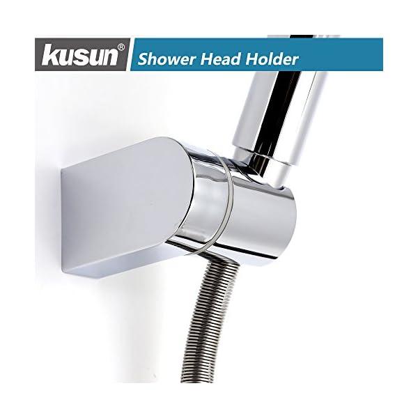 Kusun Soporte universal ajustable cabezal de ducha fijo montado Soporte de conector de pared de baño ABS Acabado en…
