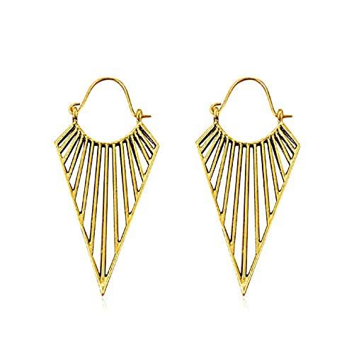 Un par de pendientes de plata de ley para mujer, oro de 14 quilates, estilo étnico (oro)