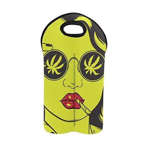 Botella Bolsas de regalo Cool Hip Hop Girl Camiseta a rayas Sombrero Gafas de sol Bolsa de vino de viaje Portabotellas doble Bolsa de transporte de vino Soporte de botella de vino de neopren