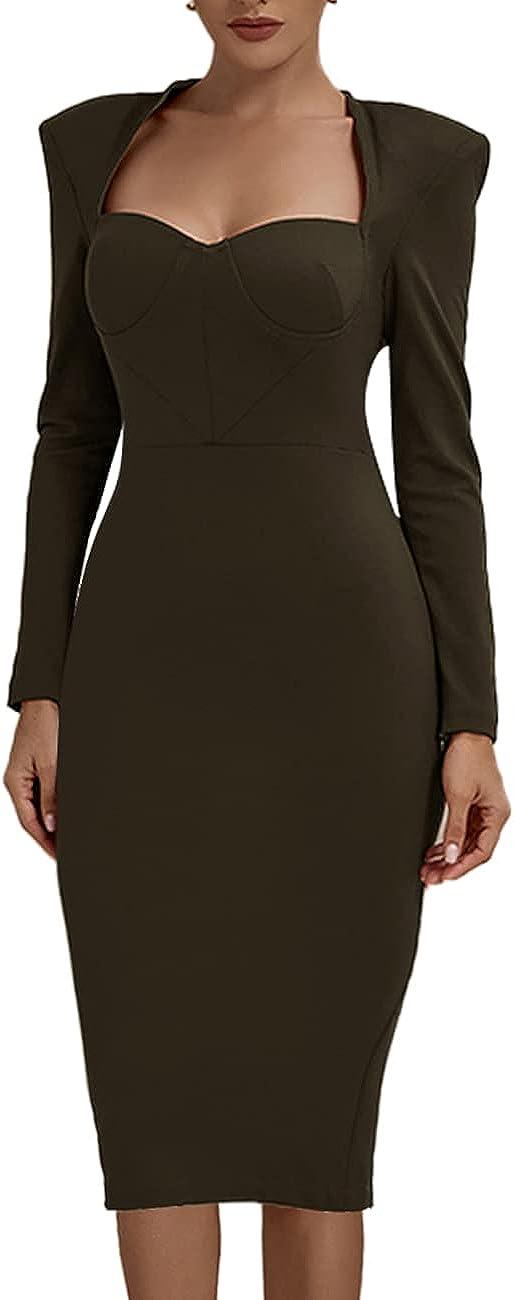 UONBOX Women's Long Sleeve Bandage Dress Back Split Bodycon Knee Length Club Party Dress