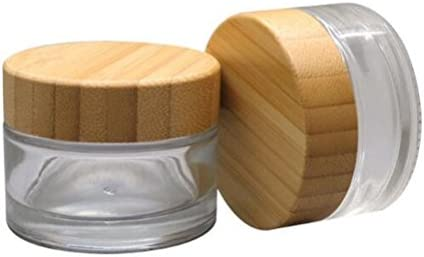 2PCS 30G 1OZ Refillable Glass Jars Empty Clear Cosmetic Containers with Bamboo Lids Makeup Face product image