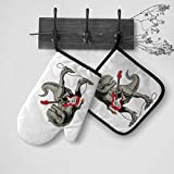 Tyrannosaurus Or T Rex Dinosaur Play Electric Guitar Musical Instrument Oven Mitts and Pot Holders Sets Kitchen Heat Resistant Oven Gloves for Cooking Baking BBQ 2-Piece Sets