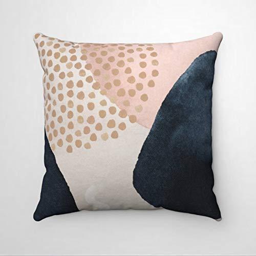 EricauBird Art Navy Beige Blush Pink Shapes Premium Thraow Funda de almohada, almohada decorativa, moderna funda de cojín para el día de San Patricio, dormitorio interior, sofá, sala de estar, coche.