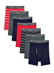Cool zone mesh fly provides ventilation where you need it Pack of 7 Wicks moisture Tag-free boxer briefs with no-ride-up legs Actual colors may vary