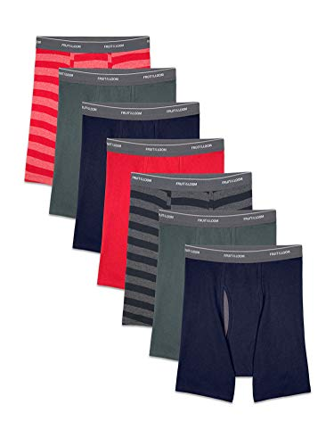 Fruit of the Loom Men's Coolzone Boxer Briefs, 7 Pack - Stripe/Solid, Large
