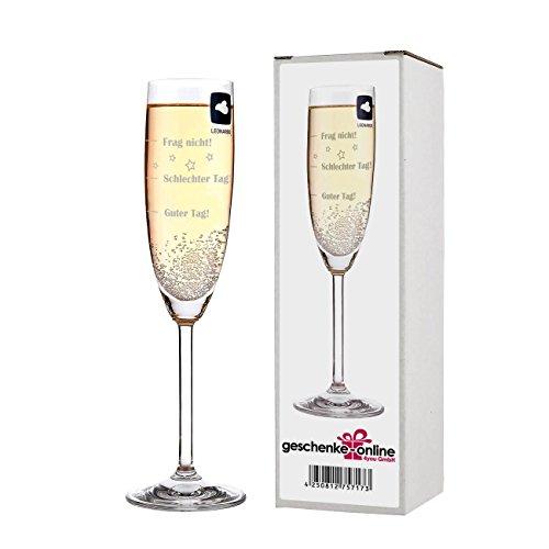 Herz & Heim® Leonardo Sektglas mit Gratis Gravur - Guter Tag - Schlechter Tag - Frag nicht! - das Stimmungsglas als lustige Geschenkidee