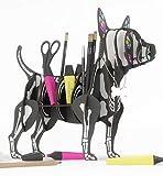 CHIHUAHUA SKELETT 3D Puzzle Organizer aus recyceltem Karton. Stand oder Regal in Form eines Hundes für Halloween gekleidet. Idee für den Schreibtisch, Regal für Schmuck