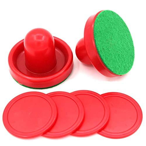 Carry stone Premium Quality Red Air Hockey Zubehör Zwei Air Hockey Pushers und Vier Red Pucks für das Air Hockey Game