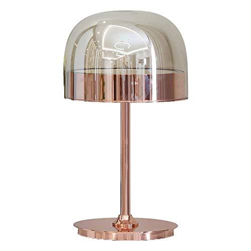 Round Nachtkastje Lamp, Golden tafellamp met metalen onderstel, nachtlamp met glazen kap, Modern tafellamp, for de woonkamer, slaapkamer en Boerderij (36,5 x 60 cm)