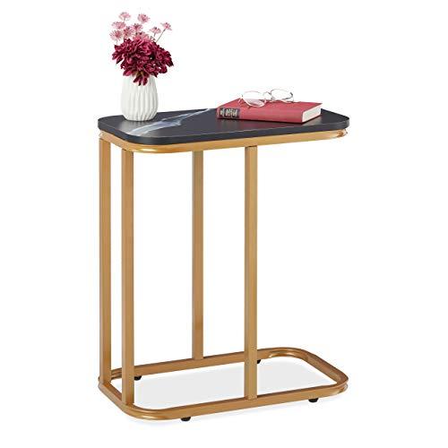 Relaxdays Sidobord modern, vardagsrumsbord i C-form, säng & soffa, soffmarmor, metall & MDF, guld/svart, 1 st