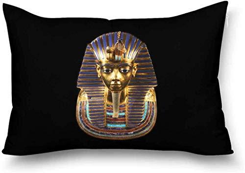 Antico Egitto Maschera Funeraria di Tutankhamon Copricuscino Decorativo Copripiumino Queen Size 20X30 Pollici Rettangolo Cerniera Federa Protector Home Decor