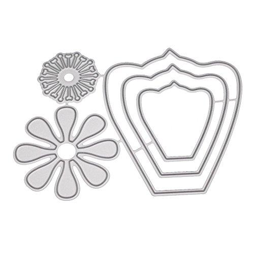 Xmiral Prägeschablonen Scrapbooking Stanzen Schablonen,3D Blume Comic-Muster Hochzeit(G)