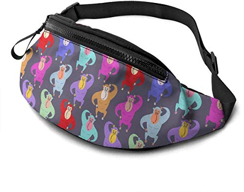 Stazary Gorilla Red Purple Unisex Casual Waist Bag Packs Bum Bag with Adjustable Belt for Running Sports Gorilla Red Purple