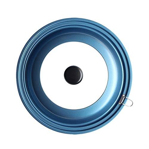 Xu Yuan Jia-Shop Topfdeckel Wok-Abdeckung 30cm Wok Deckel mit Visible Transparente Glasdeckel, beständig gegen Öl, leicht zu reinigen Deckel (blau) Universaldeckel