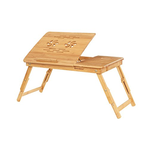 SONGMICS Laptop Desk, Adjustable Bamboo Bed Table and Breakfast Tray with 5 Tilting Angles, Cooling Holes and Drawer LLD001