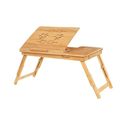 SONGMICS Laptopständer aus Bambus, höhenverstellbare Notebookhalterung, Frühstückstablett, Tisch fürs Bett, Schreibtischaufsatz, 5 Neigungswinkel, belüftet, mit Schublade LLD001