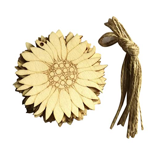 Artibetter 10pcs Unfinished Wood Cutouts Sunflower Wood Shapes Pieces Wood Discs Slices for DIY Craft Spring Decorations