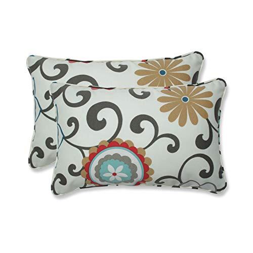 "Pillow Perfect Outdoor/Indoor Pom Play Peachtini Lumbar Pillows, 11.5"" x 18.5"", Blue, 2 Count"