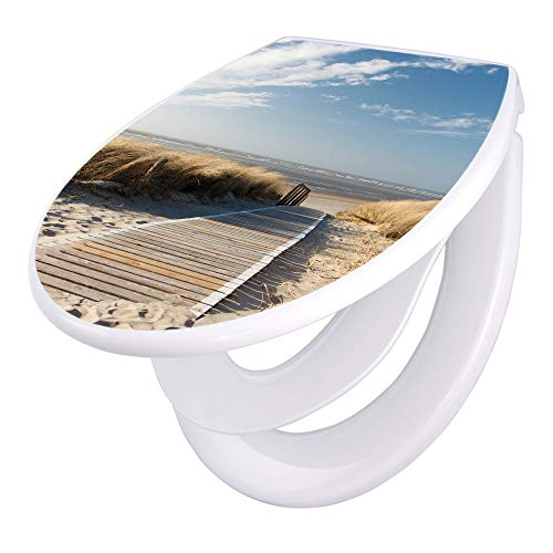 banjado Familien WC Sitz mit Absenkautomatik   Toilettendeckel mit Kindersitz   Klodeckel weiß   Toilettensitz mit Soft Close   44 x 37 cm WC Deckel mit Motiv Dünen