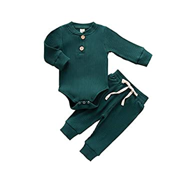 Newborn Baby Boy Girl Clothes Ribbed Knitted Cotton Long Sleeve Romper Long Pants Solid Color Fall Winter Outfits  A- Green 0-3 Months