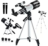 Télescope astronomique 30070 avec Extensible trépied、viseur、Clip pour téléphone - Produit de Niveau d'entrée pour l'Observation des étoiles par Les Enfants - Grossissement 150X et Calibre 70 mm