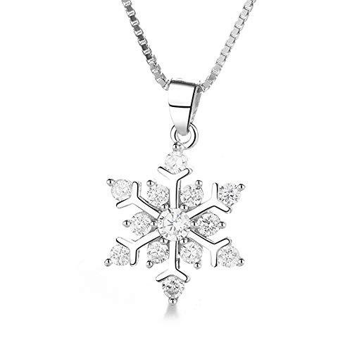 Boenxuan Halskette Schneeflocken Damen Kette Anhänger 925 Sterling Silber, Einzelanhänger (Ohne Kette),Silber