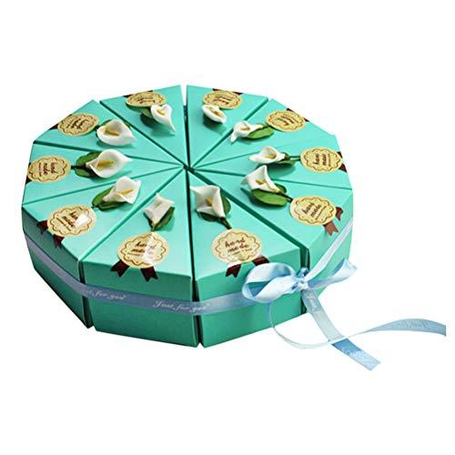 STOBOK Caja de dulces en forma de pastel de triángulo Cajas de azúcar hechas a mano DIY Favores de fiesta para cumpleaños de boda 10 piezas